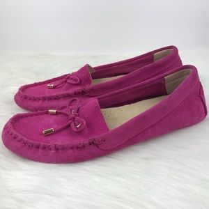 C Wonder Hot Pink Suede Driving Loafers 7.5